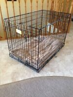 Medium Size Dog Crate with Fitted Pet Bed - Like-New Condition