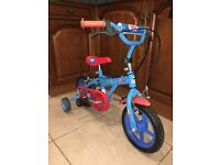 Thomas and friends bike with stabilisers and helmet