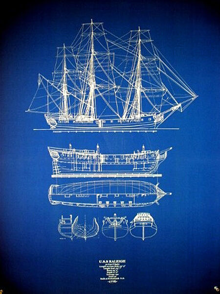 "Ships Plan USS Raleigh Navy Warship 1776 Frigate 32 Guns Blueprint 24""x32"" (039)"