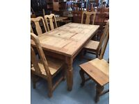 SOLID WOOD MEXICAN PINE DINING TABLE & 6 CHAIRS