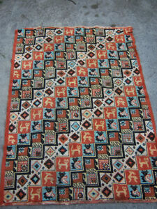 Rug Art Deco period with Animal Picture Pattern RARE