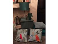 IKEA bedside cabinet two lights in teal. Cushion x4