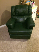 Palliser Couch and Recliner - dark green colour