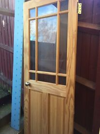 "Pine door with patterned glass 6ft 5"" x 30"" wide"