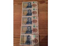 New Bank Of England 5£ Serial Numbers AB;AC;AD;AE;AJ