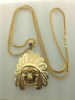 """10K FRANCO CHAIN 30"""" WITH INDIAN HEAD PENDANT - 2.5 INCHES"""
