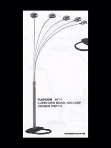 Large Off White Five Arm Floor Lamp