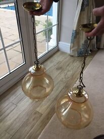 Pendant light fitting glass x 2