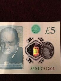 Five pound notes AK56-AA50