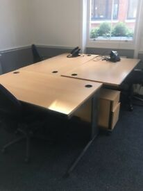 Office Desk, cabinet, pedestal & chairs