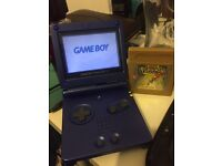 Gameboy advanced SP with Pokemon gold