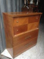 Antique Highboy Dresser (On Casters) (Fir Wood?)