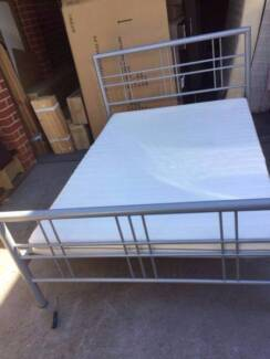 nice silver metal double size bed frame +mattress , can delivery