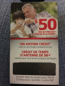 Rogers Pay as You Go $50 Airtime credit for $40