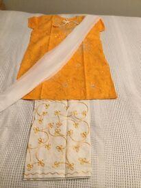 Stylish Summer Outfit- Cotton Shalwaar Kameez - Orange & Silver Embellished Top/ Kurta