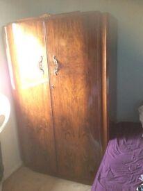 Pair of oak wardrobes and matching dresser