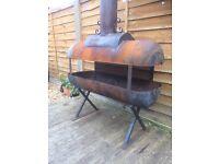 Large homemade gas bottle wood burner / fire pit / chiminea £75