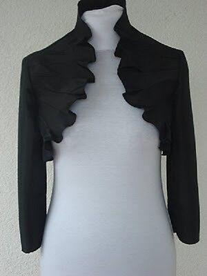Ladies black evening bolero fashion satin jacket for women size UK (Black Satin Bolero Jacket)