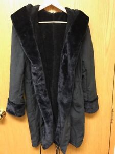 Faux Black Fur Casual Hooded Parka's— Both Brand New Size XL- 1X