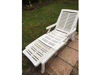 2 White Resin Sun Loungers