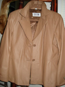 Brand New Ladies Trendy Tan, Button Front Leather Jacket