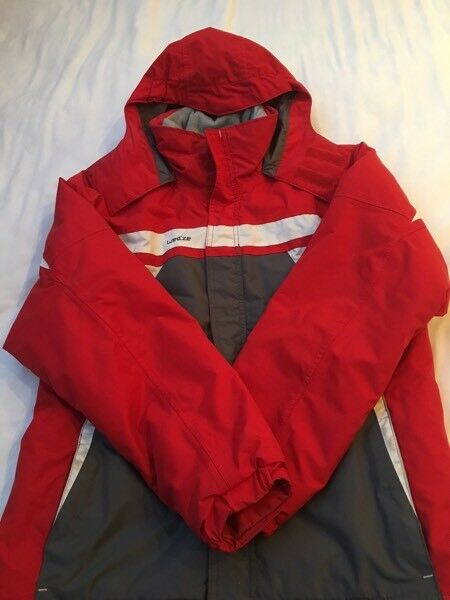 Unisex red/grey ski jacket