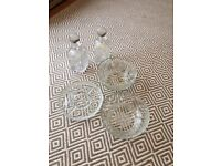 Crystal / glass bowls, dish and decanters.