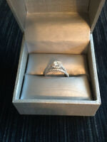 14 KT White Gold Engagement Ring and Matching Band