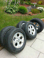 Set of 5 Jeep Wrangler Sahara wheels and Bridgestone tires