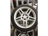 "GENUINE ORGINAL MERCEDES 18"" AMG TWIN SPOKE ALLOYS WHEELS + NEARLY NEW TYRES- C CLASS E CLASS"