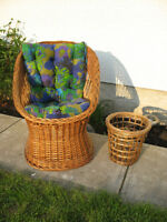 WICKER CHAIR WITH CUSHIONS and WASTE PAPER BASKET
