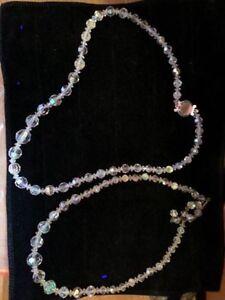 Aurora Borealis AB Crystal Quartz Graduated Beads Necklaces..