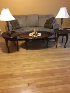 Chesterfield coffee and end tables and lamps