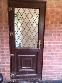 Upvc door brown lead triangles excellent condition