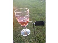 Set of 4 Deluxe outdoor, all weather wine/champagne glass holders with mobile phone holders.