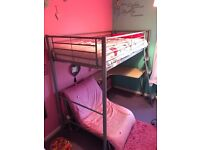 Metal High Sleeper Single Bed Frame with Futon and Ladder