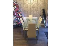 8 cream leather seater glass and chrome extendable table