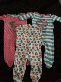 Girls 3-6 month slog sleepsuits