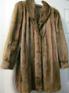 Brown Sheared Beaver FUR COAT SIZE 12-14, IN EXCELLENT CONDITION
