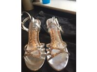 Jewelled silver sandals