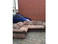 Large cream and brown corner sofa