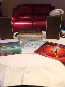 Vintage Sears Electronics Record Player W/2 Speakers 3 Albums