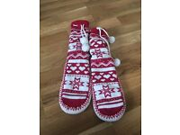 Knitted Xmas slippers