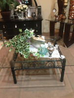 GLASS/WROUGHT IRON COFFE TABLE