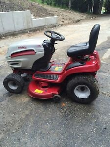 White riding mower