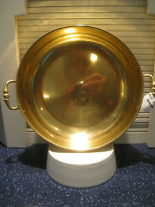 LARGE OLD 11 1/2-INCH DOUBLE-HANDLED DECORATIVE BRASS PAN
