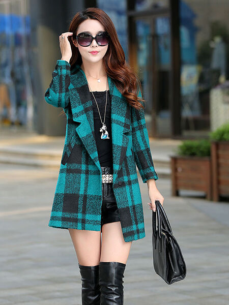Plaid Wool Slim Coat