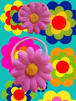 A70✪ 70er Jahre Hippie Flower-Power Margeriten Haargummis Zopfgummi rosa