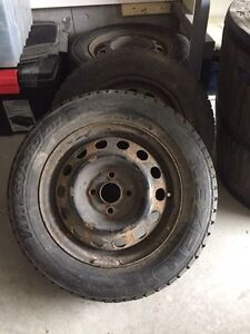 4 winter tires (studded) and rims