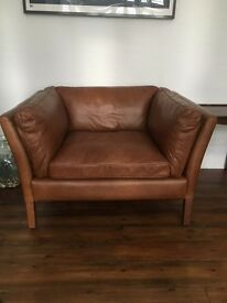 John Lewis Halo Groucho aniline leather armchair loveseat AS NEW